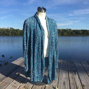 Lilly Pulitzer blue leopard print open cardigan